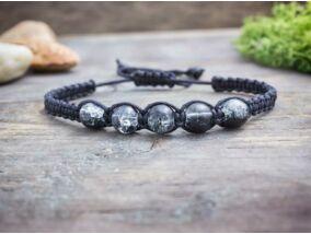 Fekete makramé karkötő fekete roppantott gyöngyökkel
