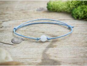 Kék pöttöm fehér jáde ásvány karkötő