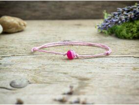 Pöttöm rózsaszín achát ásvány karkötő