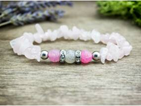 Achát és rózsakvarc házassága szemcse ásvány karkötő