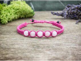 Rózsaszín makramé karkötő matt rózsakvarc gyöngyökkel