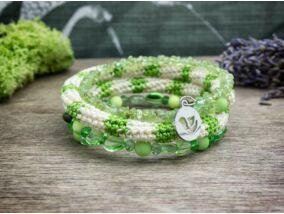 Zöld sugarak memóriadrót gyöngy karkötő
