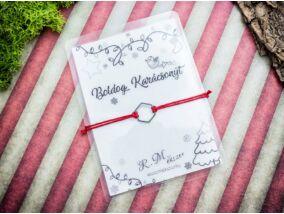 Boldog Karácsonyt piros acél medálos kívánság karkötő