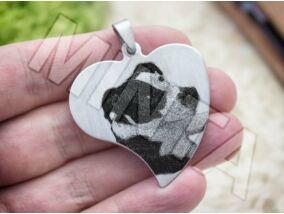 Fotógravírozás acél szív medál