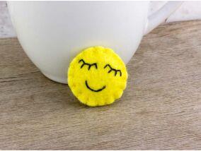 Gyapjúfilc happy smiley mini kitűző