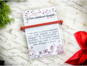 Kabbala védelmező vörös paracord karkötő kártyával