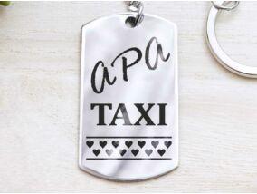 Apa taxi bérlet acél medálos kulcstartó