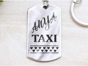 Anya taxi bérlet acél medálos kulcstartó