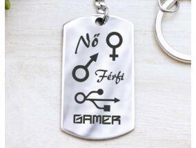 Nő Férfi Gamer acél medálos kulcstartó