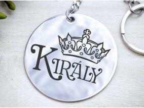Királyom acél medálos kulcstartó