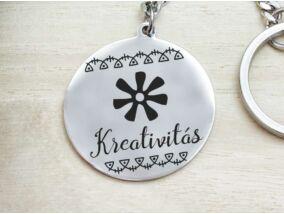 Kreativitás afrikai szimbólum acél medálos kulcstartó