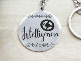 Intelligencia afrikai szimbólum acél medálos kulcstartó