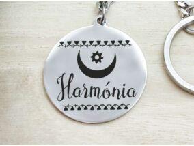 Harmónia afrikai szimbólum acél medálos kulcstartó