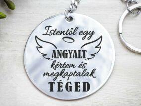 Egy angyalt kértem de acél medálos kulcstartó