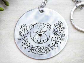 Medve koma acél medálos kulcstartó
