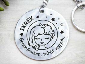 Ikrek lovely horoszkóp acél medálos kulcstartó