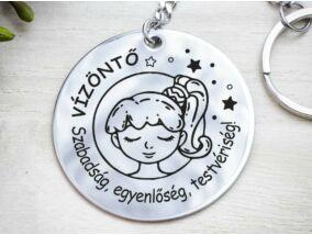 Vízöntő lovely horoszkóp acél medálos kulcstartó