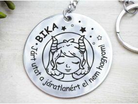 Bika lovely horoszkóp acél medálos kulcstartó