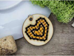 Keresztszemes narancssárga fekete szív lézervágott nyírfa medál