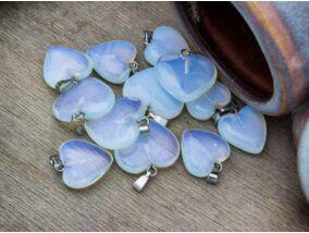Opalit üveg szív ásvány medál