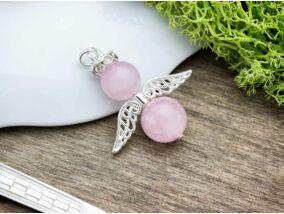 Dundi rózsakvarc angyal medál