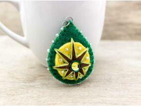 Barkácsfilc zöld és sárga csepp medál