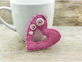 Gyapjúfilc rózsaszín szív medál