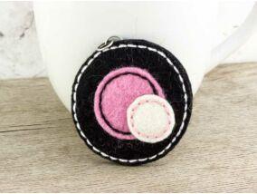 Gyapjúfilc fekete és rózsaszín halmaz medál