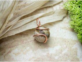Jáspis réz drót medál