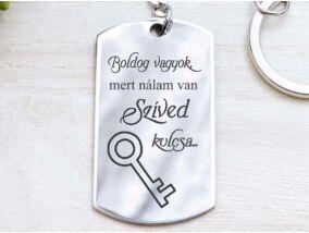 Nálam a szíved kulcsa acél medálos kulcstartó