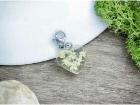 Bodzavirág műgyanta acél charm