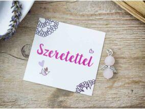 Szépséges angyal rózsakvarc ásvány medál kártyával