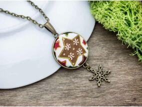 Karácsonyi csillag textil gombos nyaklánc