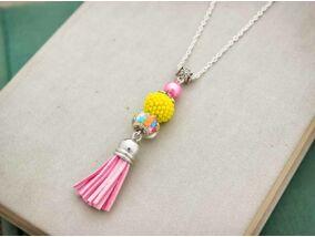 Sárga és rózsaszín gyöngyös bojtos nyaklánc