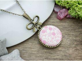 Rózsaszín kertem textil gombos nyaklánc