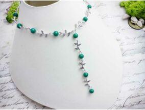 Zöld gyöngyös levélkés nyaklánc