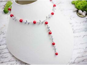 Piros gyöngyös levélkés nyaklánc