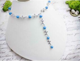 Kék gyöngyös levélkés nyaklánc