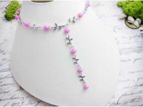 Rózsaszín gyöngyös levélkés nyaklánc