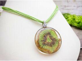Egy szelet valódi kiwi műgyanta nyaklánc