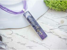Műgyanta préselt kis levendula virágos acél nyaklánc