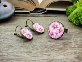 Üveglencsés vintage cseresznyevirág gyűrű és fülbevaló szett