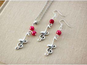 Zenemánia piros gyöngy nyaklánc és fülbevaló szett