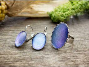 Üveglencsés kék csillámos fülbevaló és gyűrű szett