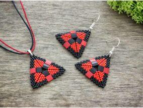 Fekete és piros piramis nyaklánc és fülbevaló szett