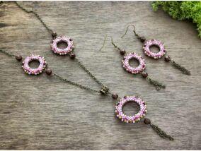 Rózsaszín bling ring nyaklánc és fülbevaló szett