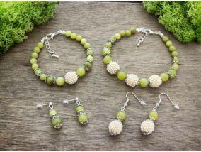 Anya lánya olivin jáde fülbevaló és karkötő ásvány szett