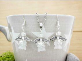 Fehér angyalka nyaklánc és fülbevaló szett