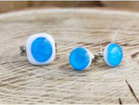 Egy csepp kék gyűrű és fülbevaló üveg szett