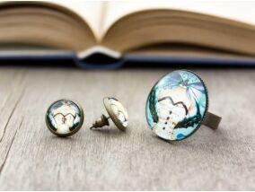 Üveglencsés vintage próba baba gyűrű és fülbevaló szett